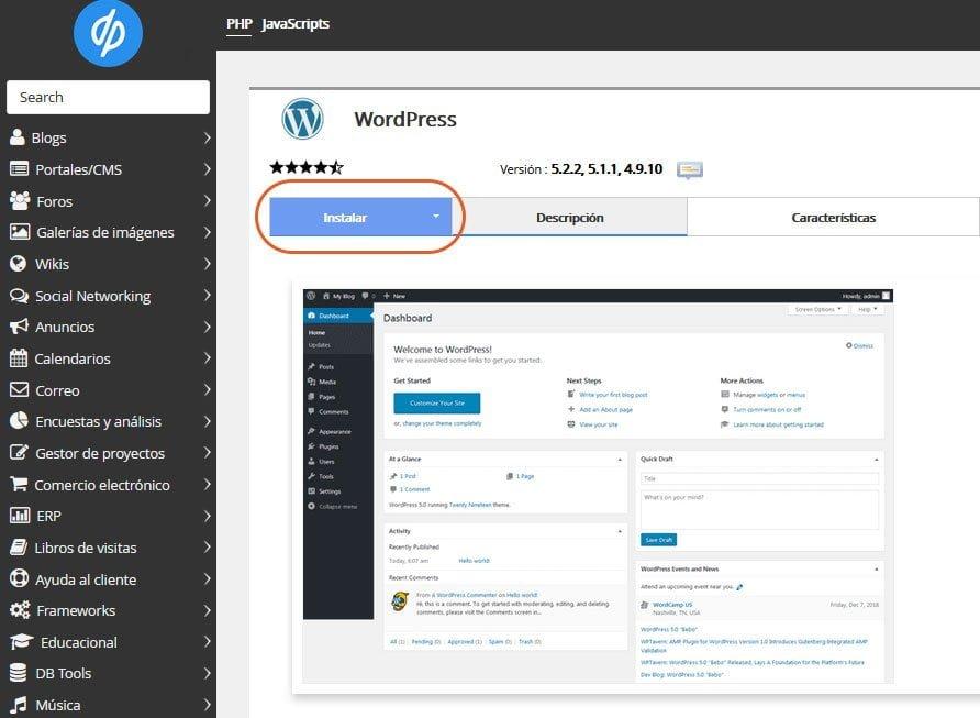 Cómo instalar WordPress con y sin panel de control 2