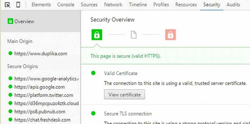 El nuevo panel de seguridad de Chrome recomienda SSL 1