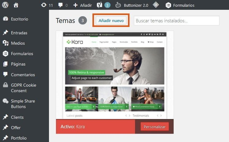 ¿Cómo instalar un theme de WordPress? 2