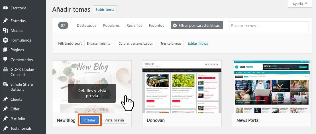 ¿Cómo instalar un theme de WordPress? 5
