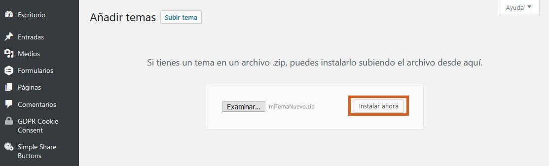 ¿Cómo instalar un theme de WordPress? 7
