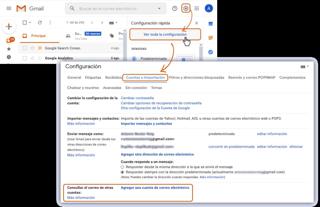 Administrar cuenta de correo desde Gmail 1