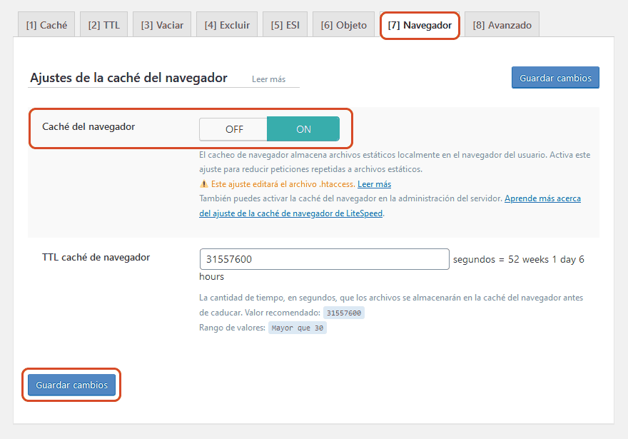 Configurar LiteSpeed cache en WordPress 5