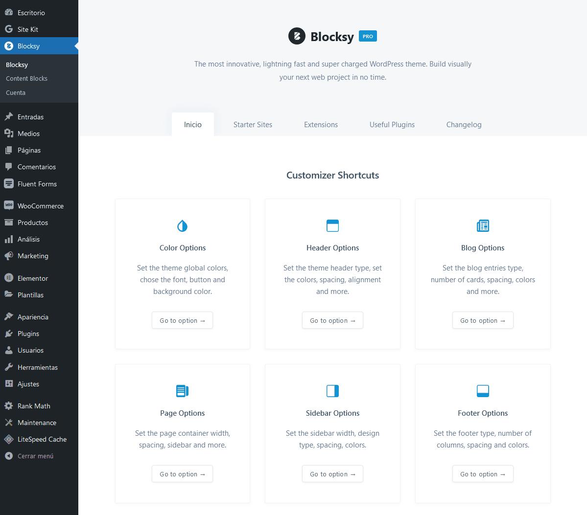 menu de atajos de tema Blocksy